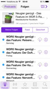 Screenhot - Podcast-Angebot von WDR5