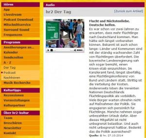 Screenshot - hr2 Der Tag zum Nachhören im Netz
